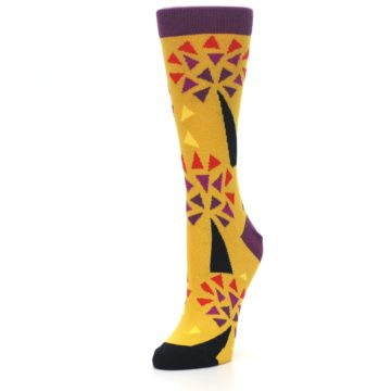 Image of Yellow Abstract Trees Women's Dress Socks (side-2-front-08)