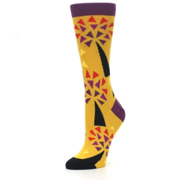 Image of Yellow Abstract Trees Women's Dress Socks (side-2-09)