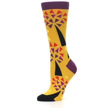Image of Yellow Abstract Trees Women's Dress Socks (side-2-10)