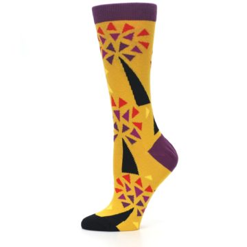Image of Yellow Abstract Trees Women's Dress Socks (side-2-11)