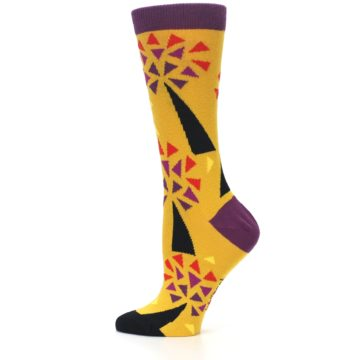 Image of Yellow Abstract Trees Women's Dress Socks (side-2-12)
