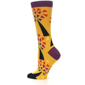 Image of Yellow Abstract Trees Women's Dress Socks (side-2-13)