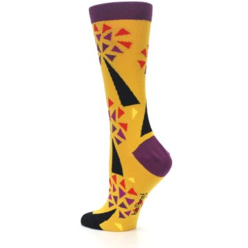 Image of Yellow Abstract Trees Women's Dress Socks (side-2-back-14)