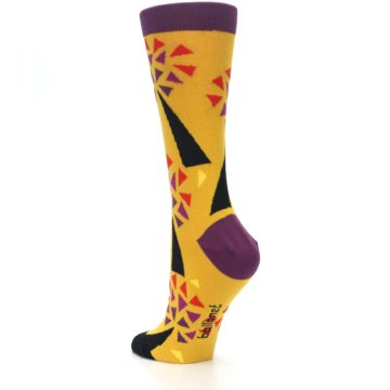 Image of Yellow Abstract Trees Women's Dress Socks (side-2-back-15)