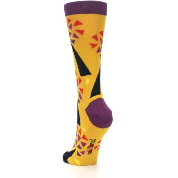 Image of Yellow Abstract Trees Women's Dress Socks (side-2-back-16)