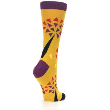 Image of Yellow Abstract Trees Women's Dress Socks (side-1-back-22)