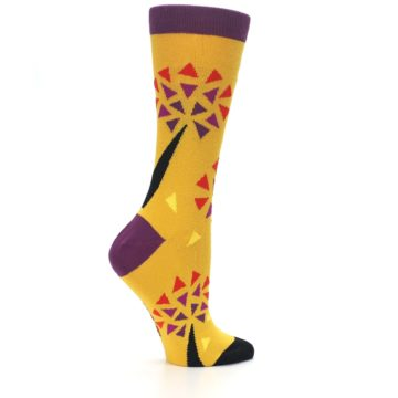 Image of Yellow Abstract Trees Women's Dress Socks (side-1-24)