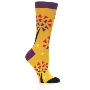 Image of Yellow Abstract Trees Women's Dress Socks (side-1-25)