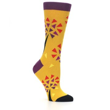 Image of Yellow Abstract Trees Women's Dress Socks (side-1-26)