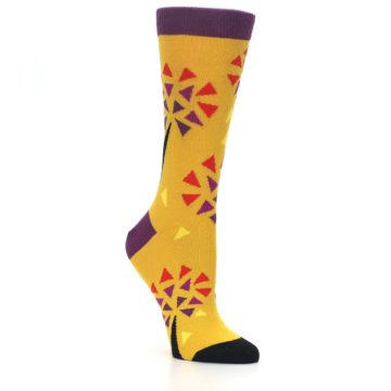 Image of Yellow Abstract Trees Women's Dress Socks (side-1-27)