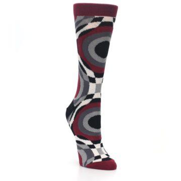 Image of Maroon Gray Hypnotic Swirl Women's Dress Socks (side-1-front-02)