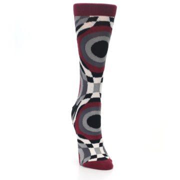 Image of Maroon Gray Hypnotic Swirl Women's Dress Socks (side-1-front-03)