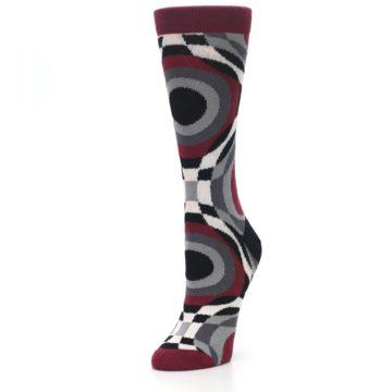 Image of Maroon Gray Hypnotic Swirl Women's Dress Socks (side-2-front-08)