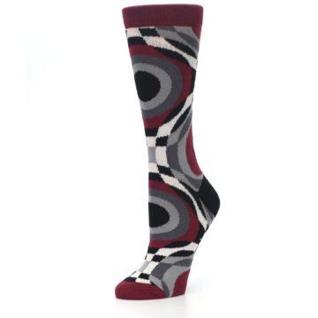Image of Maroon Gray Hypnotic Swirl Women's Dress Socks (side-2-09)