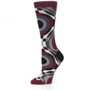 Image of Maroon Gray Hypnotic Swirl Women's Dress Socks (side-2-10)
