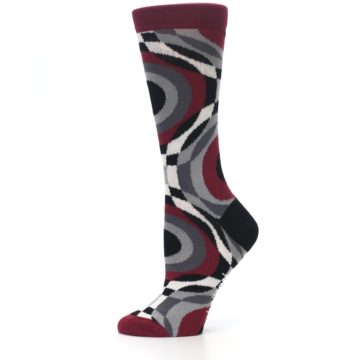 Image of Maroon Gray Hypnotic Swirl Women's Dress Socks (side-2-11)
