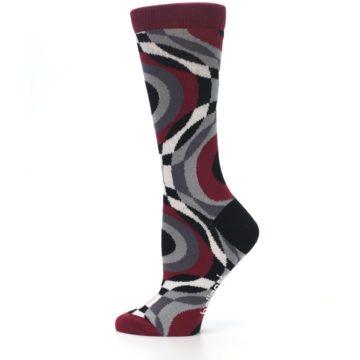 Image of Maroon Gray Hypnotic Swirl Women's Dress Socks (side-2-12)