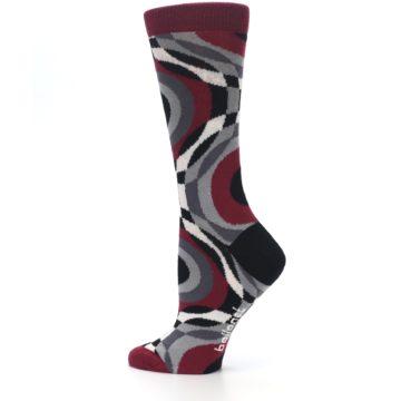 Image of Maroon Gray Hypnotic Swirl Women's Dress Socks (side-2-13)