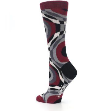 Image of Maroon Gray Hypnotic Swirl Women's Dress Socks (side-2-back-14)