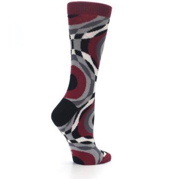 Image of Maroon Gray Hypnotic Swirl Women's Dress Socks (side-1-23)