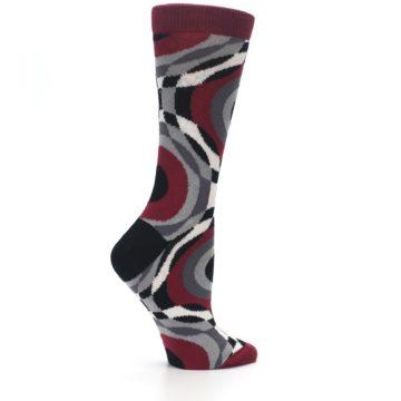 Image of Maroon Gray Hypnotic Swirl Women's Dress Socks (side-1-24)