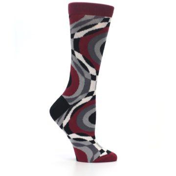 Image of Maroon Gray Hypnotic Swirl Women's Dress Socks (side-1-25)