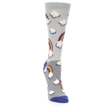 Image of Gray Rainbows Clouds Women's Dress Socks (side-1-front-03)