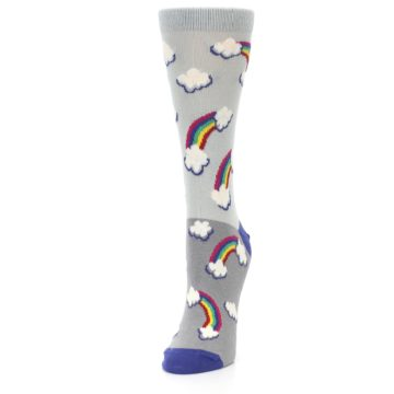 Image of Gray Rainbows Clouds Women's Dress Socks (side-2-front-07)