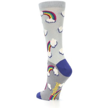 Image of Gray Rainbows Clouds Women's Dress Socks (side-2-back-15)