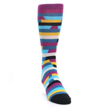 Image of Purple Blue Digi Stripe Men's Dress Socks (side-1-front-03)