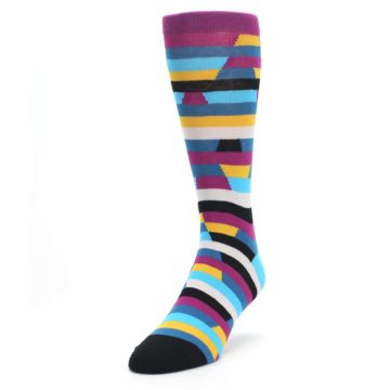 Image of Purple Blue Digi Stripe Men's Dress Socks (side-2-front-07)