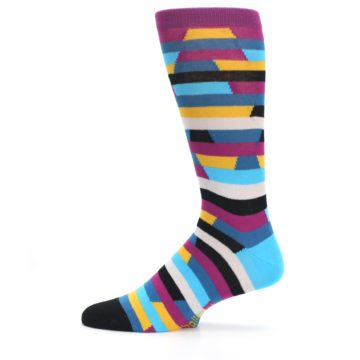 Image of Purple Blue Digi Stripe Men's Dress Socks (side-2-12)