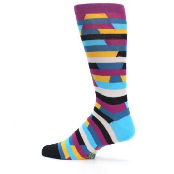 Image of Purple Blue Digi Stripe Men's Dress Socks (side-2-13)