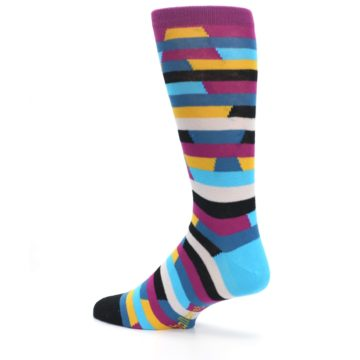 Image of Purple Blue Digi Stripe Men's Dress Socks (side-2-back-14)