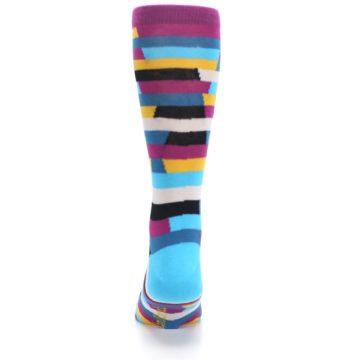 Image of Purple Blue Digi Stripe Men's Dress Socks (back-18)