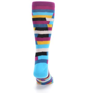 Image of Purple Blue Digi Stripe Men's Dress Socks (back-19)