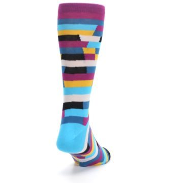 Image of Purple Blue Digi Stripe Men's Dress Socks (side-1-back-20)
