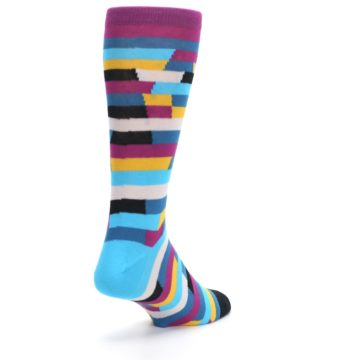 Image of Purple Blue Digi Stripe Men's Dress Socks (side-1-back-21)