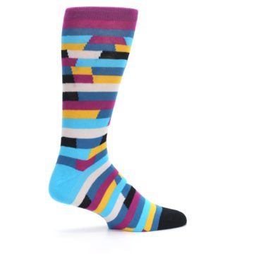 Image of Purple Blue Digi Stripe Men's Dress Socks (side-1-24)
