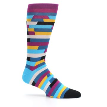 Image of Purple Blue Digi Stripe Men's Dress Socks (side-1-25)