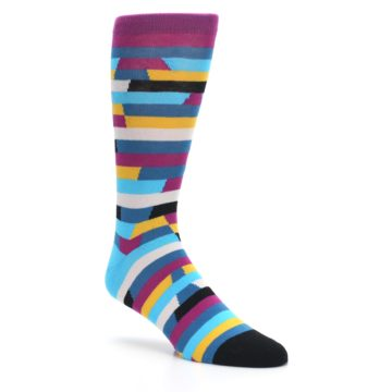Image of Purple Blue Digi Stripe Men's Dress Socks (side-1-27)