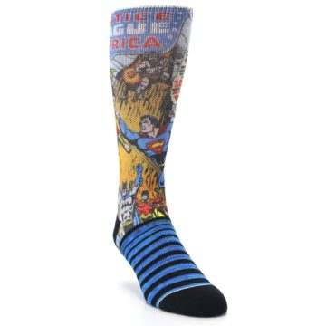 Image of Blue Justice League Characters Men's Casual Socks (side-1-front-02)