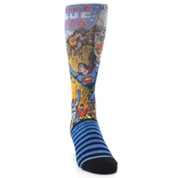 Image of Blue Justice League Characters Men's Casual Socks (side-1-front-03)