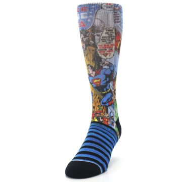 Image of Blue Justice League Characters Men's Casual Socks (side-2-front-06)