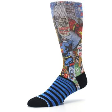 Image of Blue Justice League Characters Men's Casual Socks (side-2-09)
