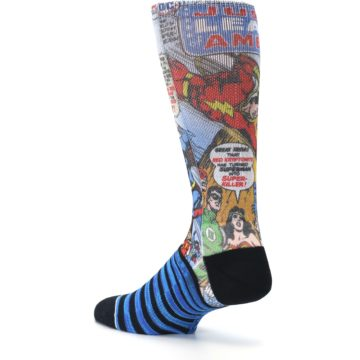 Image of Blue Justice League Characters Men's Casual Socks (side-2-back-14)