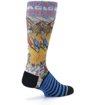 Image of Blue Justice League Characters Men's Casual Socks (side-1-back-22)