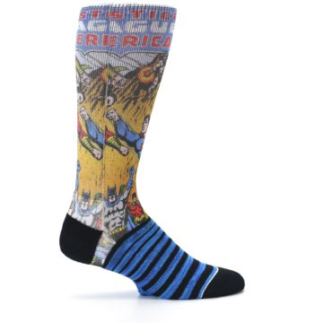 Image of Blue Justice League Characters Men's Casual Socks (side-1-24)