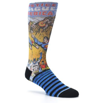 Image of Blue Justice League Characters Men's Casual Socks (side-1-26)