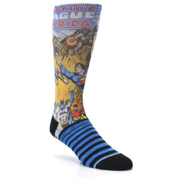 Image of Blue Justice League Characters Men's Casual Socks (side-1-27)